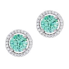 Absolute™ Simulated Colored Gemstone  Halo Stud Earrings
