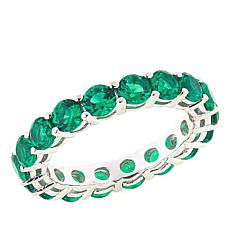 Absolute™ Simulated Emerald Round Prong-Set Eternity Ring