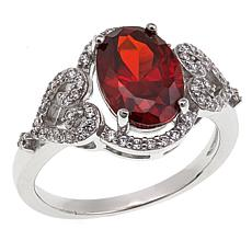 Absolute™  Simulated Garnet and Cubic Zirconia Heart-Design Ring