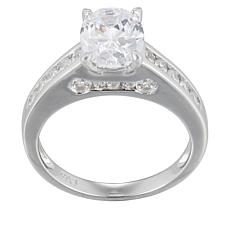 Absolute™ Sterling Silver 2.63ctw Cubic Zirconia Oval Pavé Sides Ring