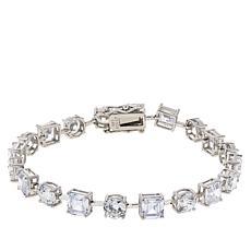 Absolute™ Sterling Silver Asscher and Round Tennis Bracelet
