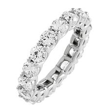 Absolute™ Sterling Silver Clear Prong-Set Round Cut Eternity Ring
