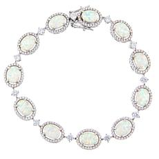 Absolute™ Sterling Silver Cubic Zirconia and Simulated Opal  Bracelet