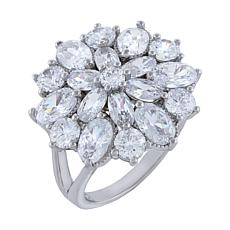 Absolute™ Sterling Silver Cubic Zirconia Floral Style Cluster Ring