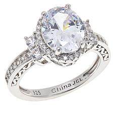 Absolute™ Sterling Silver Cubic Zirconia Halo Ring