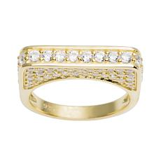Absolute™ Sterling Silver Cubic Zirconia Pavé Bar Ring