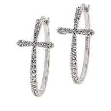 Absolute™ Sterling Silver Cubic Zirconia Pavé Cross Hoop Earrings