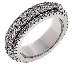 Absolute™ Sterling Silver Cubic Zirconia Pavé Spinner Band Ring