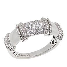 Absolute™ Sterling Silver Cubic Zirconia Rope Detail Pavé Band Ring