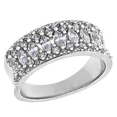 Absolute™ Sterling Silver Cubic Zirconia Round and Marquise Band Ring