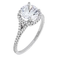 Absolute™ Sterling Silver Cubic Zirconia Round Halo Cathedral Ring