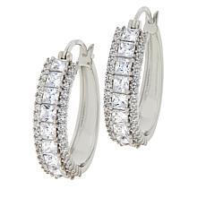 Absolute™ Sterling Silver Cubic Zirconia Triple-Row Hoop Earrings