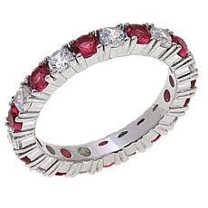 Absolute™ Sterling Silver CZ and Simulated Ruby Round Eternity Ring