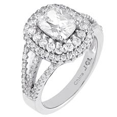 Absolute™ Sterling Silver CZ Double-Halo Cushion-Cut Engagement Ring