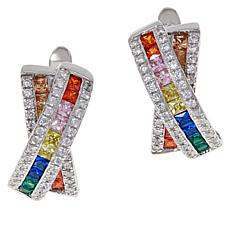 Absolute™ Sterling Silver Rainbow Bypass Hoop Earrings