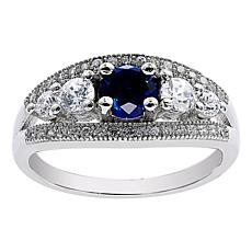 Absolute™ Sterling Silver Simulated Sapphire and CZ Five-Stone Ring