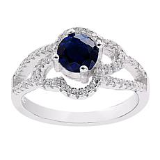 Absolute™ Sterling Silver Simulated Sapphire and CZ Round Open Ring