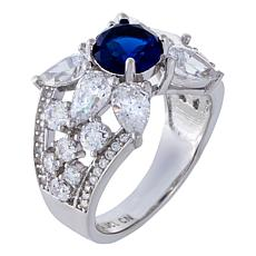 Absolute™ Sterling Silver Simulated Sapphire CZ Floral Style Ring