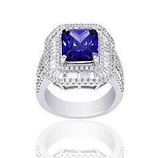 Absolute™ Sterling Silver Simulated Tanzanite Emerald Cut Ring