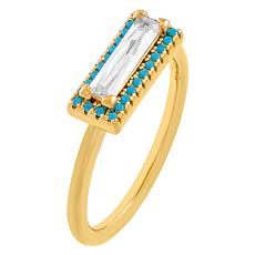 Absolute™ Sterling Silver Simulated Turquoise Baguette Halo Ring