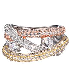Absolute™ Tri-Color Sterling Silver Cubic Zirconia Crossover Ring