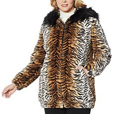 Adrienne Landau Blouson Faux Fur Coat with Hood