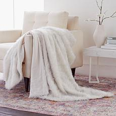 Adrienne Landau Metallic Acrylic Decorative Faux Fur Throw