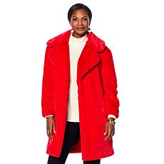 Adrienne Landau Notch Collar Faux Fur Coat