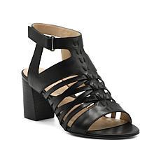 Adrienne Vittadini Pense City Leather Sandal - Black