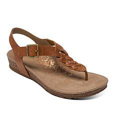 Aetrex® Harper Orthotic Toe Post Braided Leather Sandal
