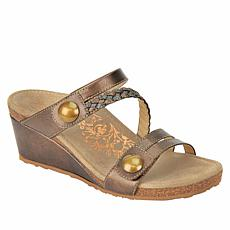Aetrex® Lydia Braided Leather Orthotic Wedge Sandal