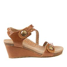 Aetrex® Naya Braided Leather Wedge Sandal