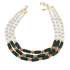 "Akola ""Lush"" Recycled Glass and White Karatasi Paper Bead Necklace"