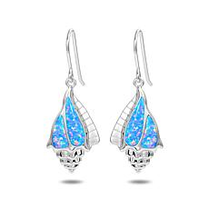 Alamea Sterling Silver Synthetic Blue Opal Conch Shell Earrings