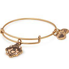 """Alex & Ani """"Goddaughter"""" Adjustable Wire Bangle Crystal Charm Bracelet"""