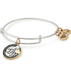 """Alex and Ani """"Hand in Hand """"Adjustable Wire Bangle Charm Bracelet"""