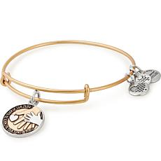 "Alex and Ani ""Hand in Hand ""Adjustable Wire Bangle Charm Bracelet"