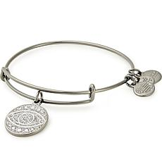 Alex and Ani Midnight Silvertone Color Infusion Evil Eye Charm Bangle