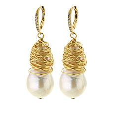Amara Jewelry Collection 15x20mm Cultured Baroque Pearl Drop Earrings