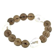 Amara Jewelry Collection Brown Quartz and Cultured Pearl Bracelet