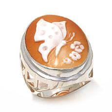 AMEDEO 25mm Butterfly Cameo Sterling Silver Ring