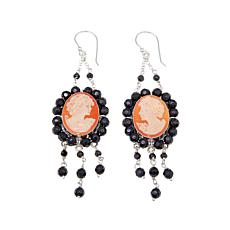 "AMEDEO ""Caramelle"" Cornelian & Gem Bead Cameo Earrings"