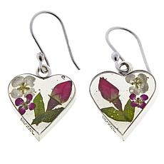 Amena K Silver Designs Dried Flower Heart-Shaped Drop Earrings