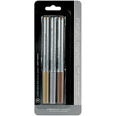 American Crafts Medium Point Metallic Markers - 3-Pack