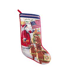 Americana Santa Needlepoint  Stocking