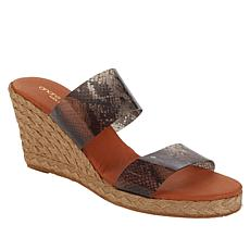 André Assous Anfisa 2-Band Vinyl Design Wedge Sandal