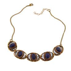 "Anju Simulated Lapis Oval Station 17-1/2"" Bib Necklace"
