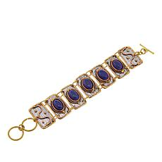 "Anju Simulated Lapis Rectangular 7"" Link Bracelet"