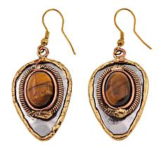Anju Simulated Tiger's Eye Tri-Tone Drop Earrings