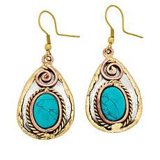 Anju Simulated Turquoise Tri-Tone Drop Earrings